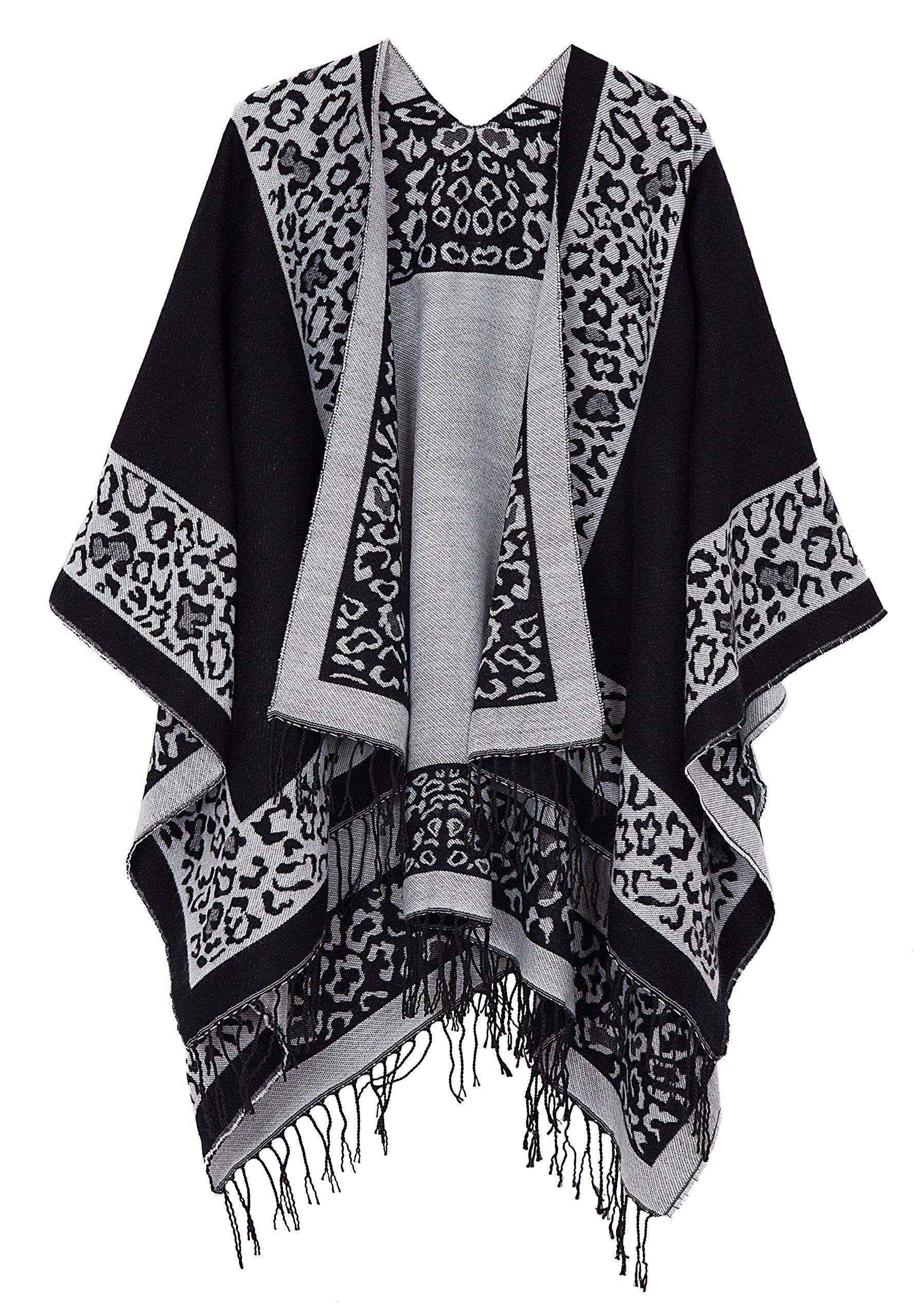 Urban CoCo Women's Printed Tassel Open front Poncho Cape Cardigan Wrap Shawl (Series 11-black)