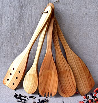 Amazon.Com: Utensil Set. Wooden Cute Kitchen Utensils. Kitchen