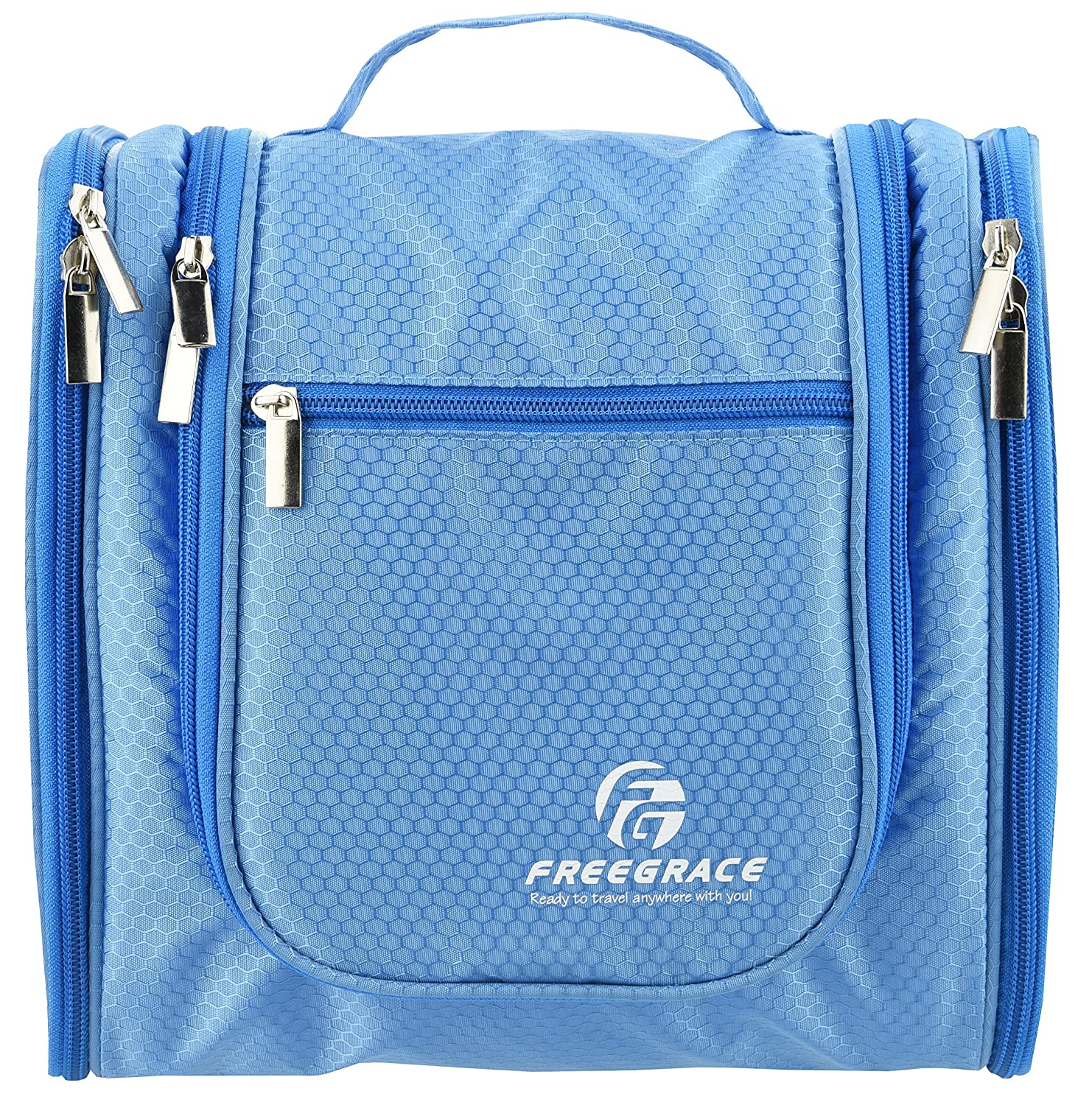 Premium Toiletry Bag By Freegrace - Large Travel Essentials Organizer - Durable Hanging Hook - For Men & Women - Perfect For Accessories, Cosmetics, Personal Items, Shampoo, Body Wash (Fluorescent Green)
