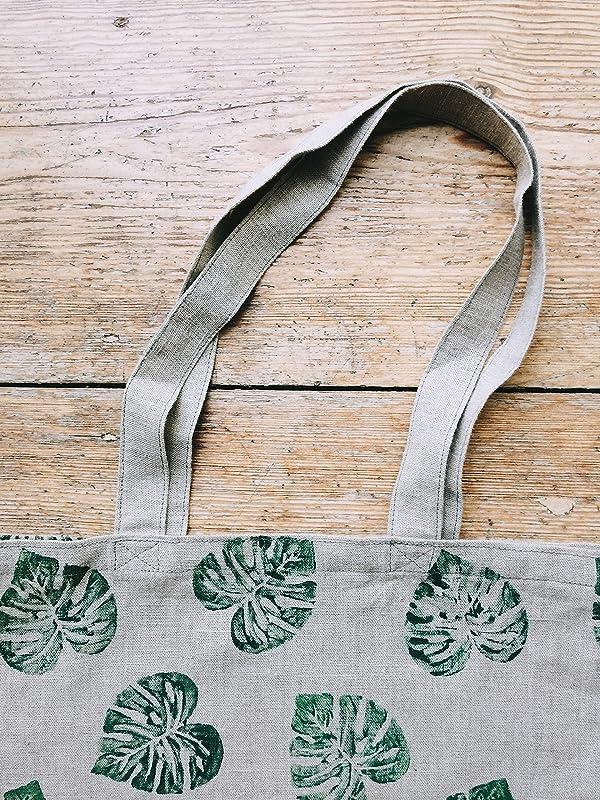 Cotton Linen 2 Sided Eco Shopping Tote Shoulder Bag Dandelion Green Leaf L27