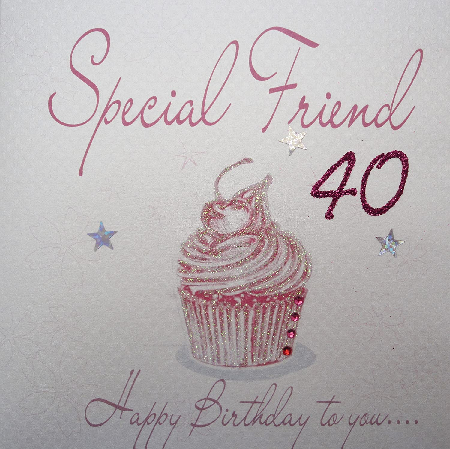 White cotton cards wb202 40 pink cupcake special friend 40 happy white cotton cards wb202 40 pink cupcake special friend 40 happy birthday to you handmade 40th birthday card white amazon kitchen home bookmarktalkfo Choice Image