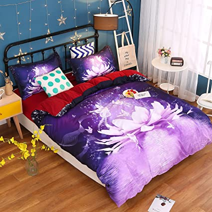 Comforter Sets King,Luxury Purple Floral And Butterfly Bedding,1 Black Bed  Sheet,