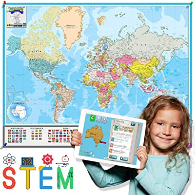 Interactive Laminated World Map for Kids – Geography and Nations – Included Augmented Reality Education App – STEM Toy Learning for Boys and Girls Aged 5, 6, 7, 8, 9, 10, 11, 12 (Medium): Office Products