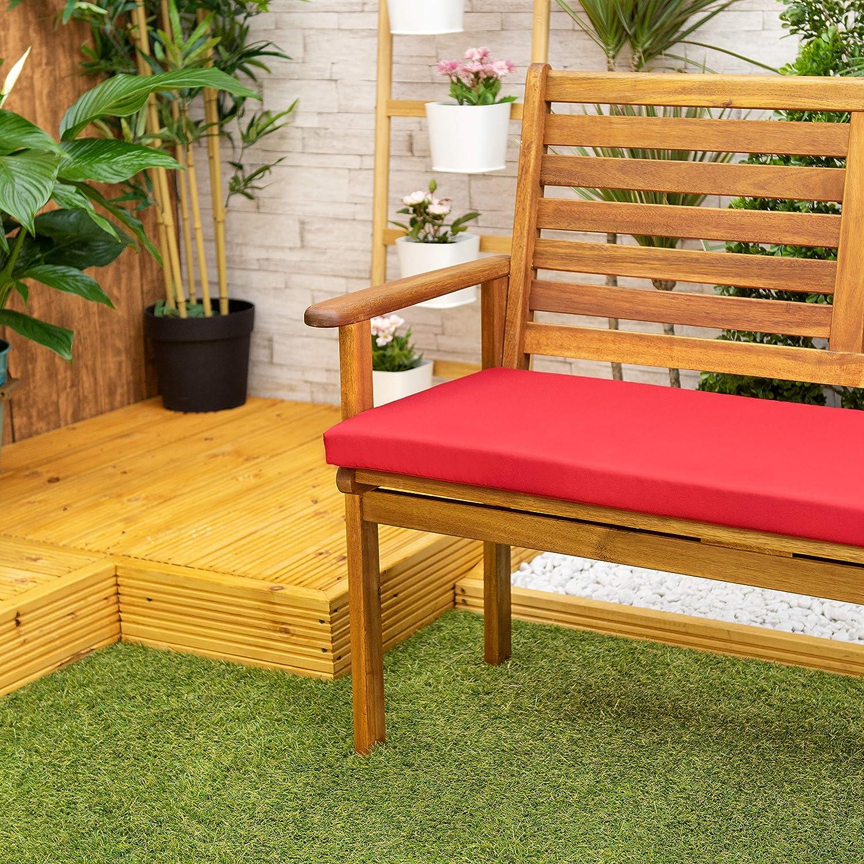 Cuscino Per Panchina Da Giardino // Cuscino Rosso Realizzato in Materiale Impermeabile Di Alta Qualit/à Perfetto per Interni e Esterni Confortevole e Leggero