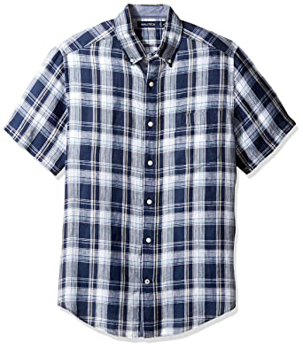 fc610666 Nautica Men's Short Sleeve Classic Fit Plaid Linen Button Down Shirt,  Maritime Navy, Large