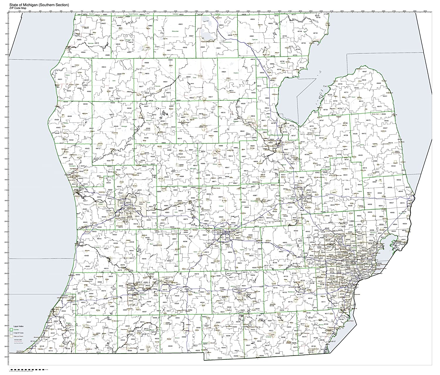 Michigan Map Of State.Amazon Com Zip Code Map State Of Michigan Southern Half Laminated