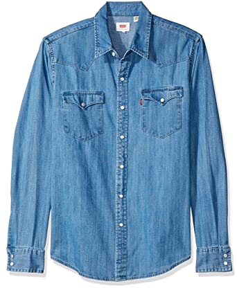 c13cc6a015 Camisa Jeans Levis Masculino Classic Western Média  Amazon.com.br ...