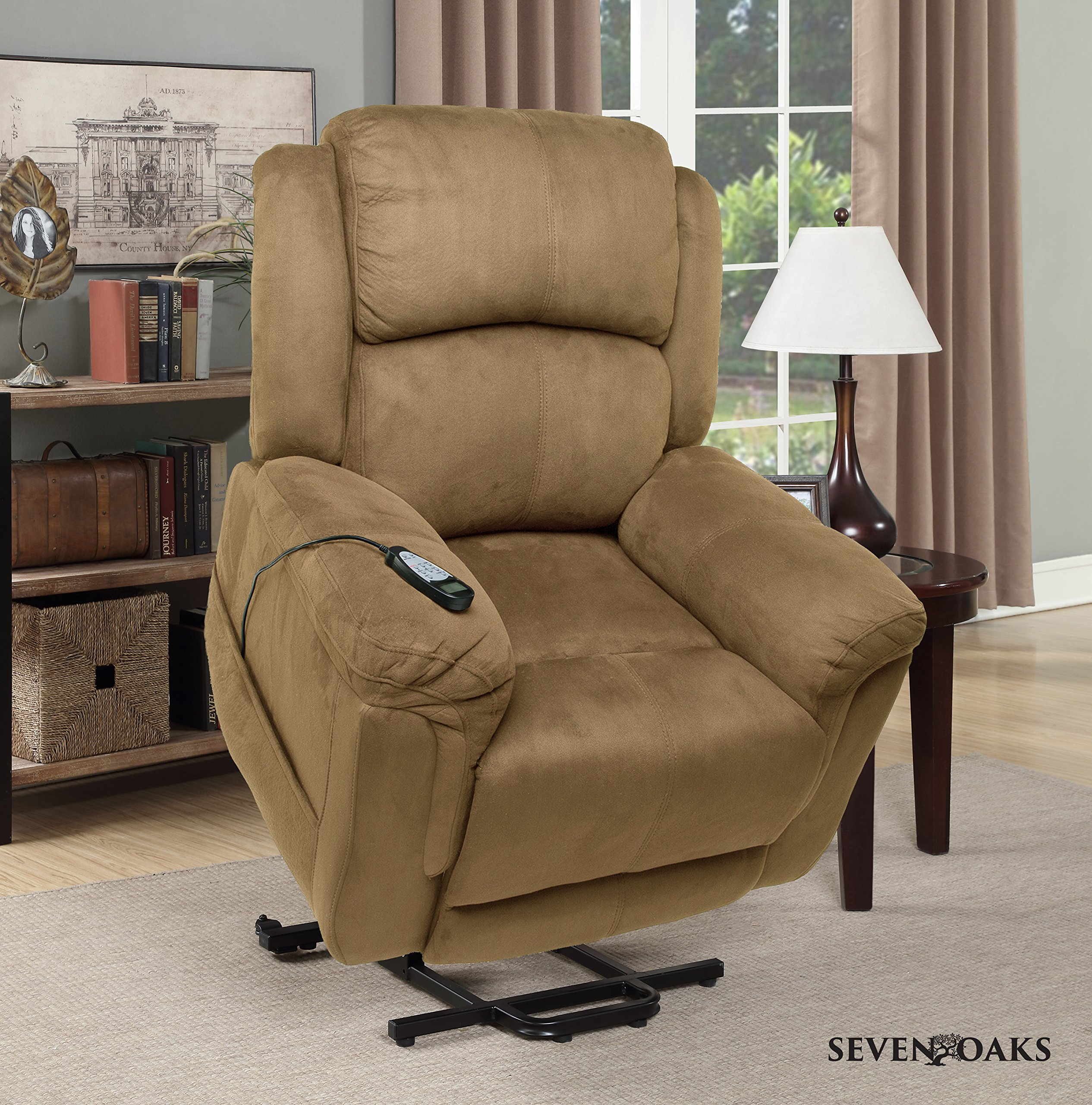 Seven Oaks Power Lift Recliner for Seniors | Electric Chair for the Elderly with Heated Massage | Adjustable Controls & Full Range of Motion | Soft Microfiber | (Model # TANMICROMOD)
