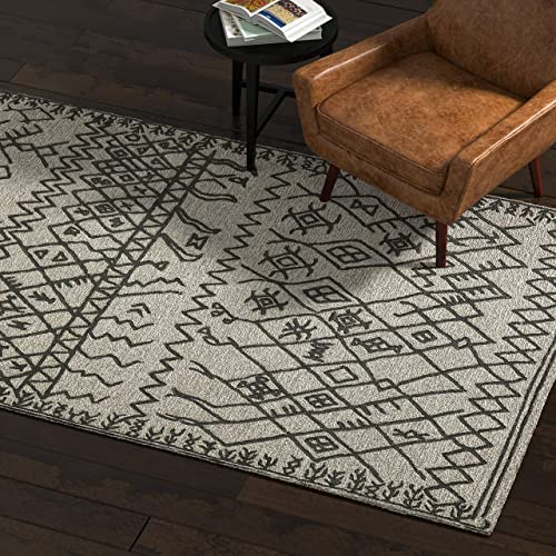 Rivet Contemporary Wool Area Rug, 4 x 6 Foot, Grey and Charcoal