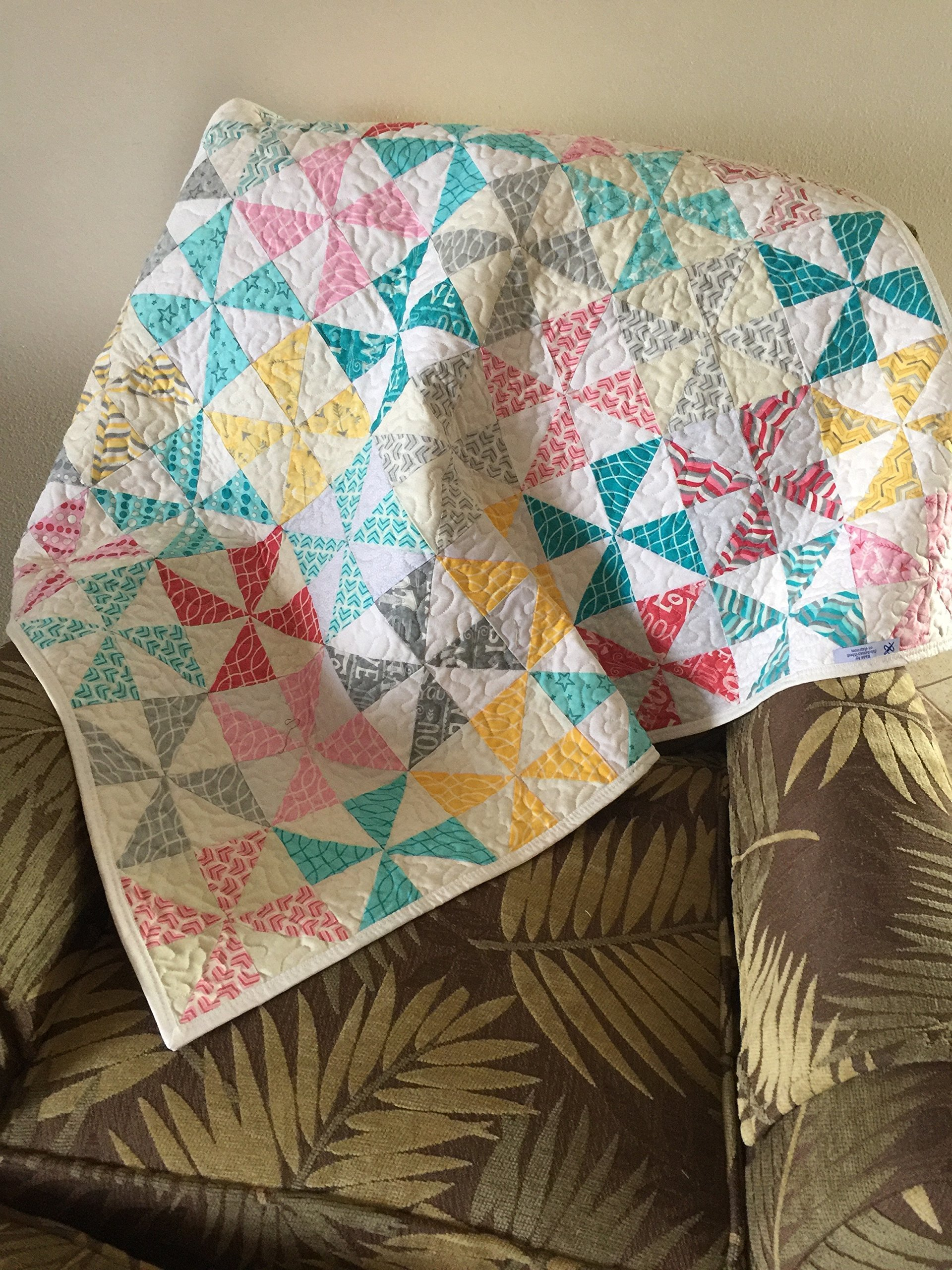 Quilted Baby Quilt, Multi Colored Pinwheels