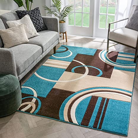 Echo Shapes Circles Blue Brown Modern Geometric Comfy Casual Hand Carved Area Rug 5x7 5 3 X 7 3 Easy Clean Stain Fade Resistant Abstract Contemporary Thick Soft