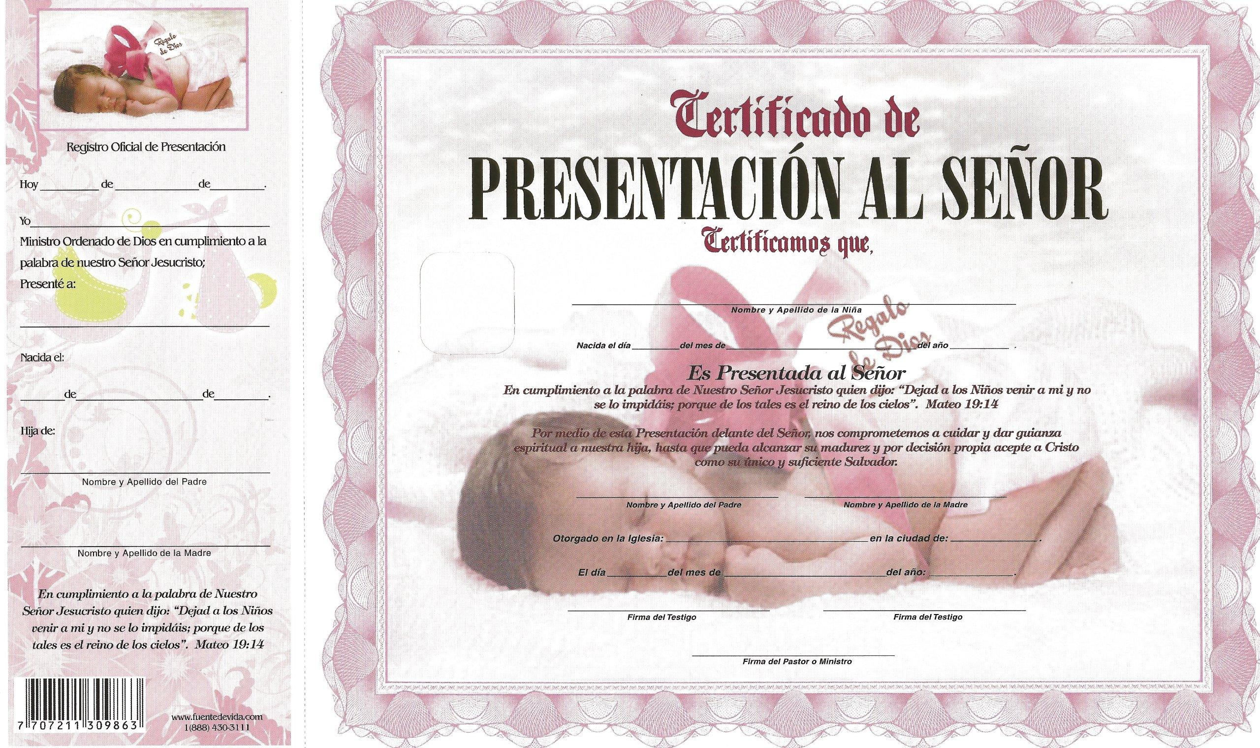1da047e6a Certificado de Presentación al Señor Niñas (Spanish) Loose Leaf – 2013