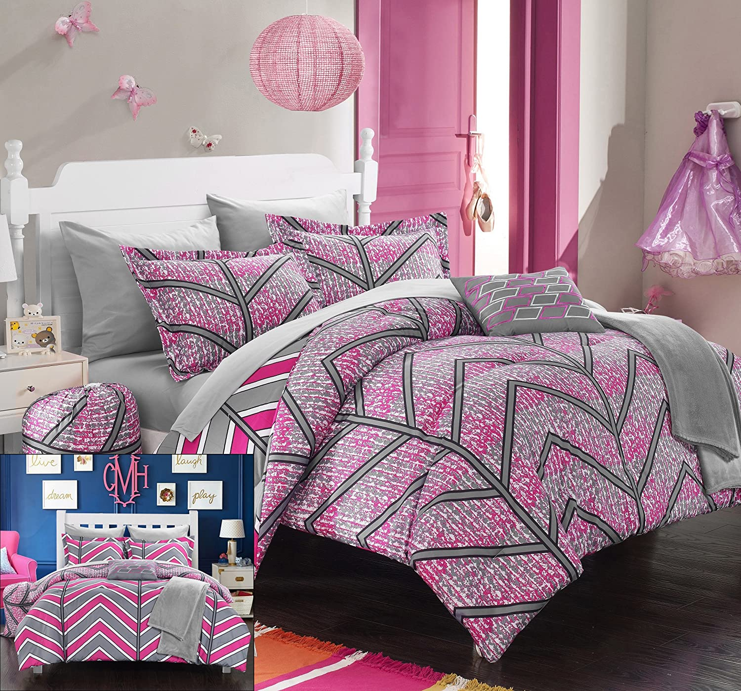 Chic Home 8 Piece Laredo Chevron and Geometric Printed Reversible Comforter Sheet Set