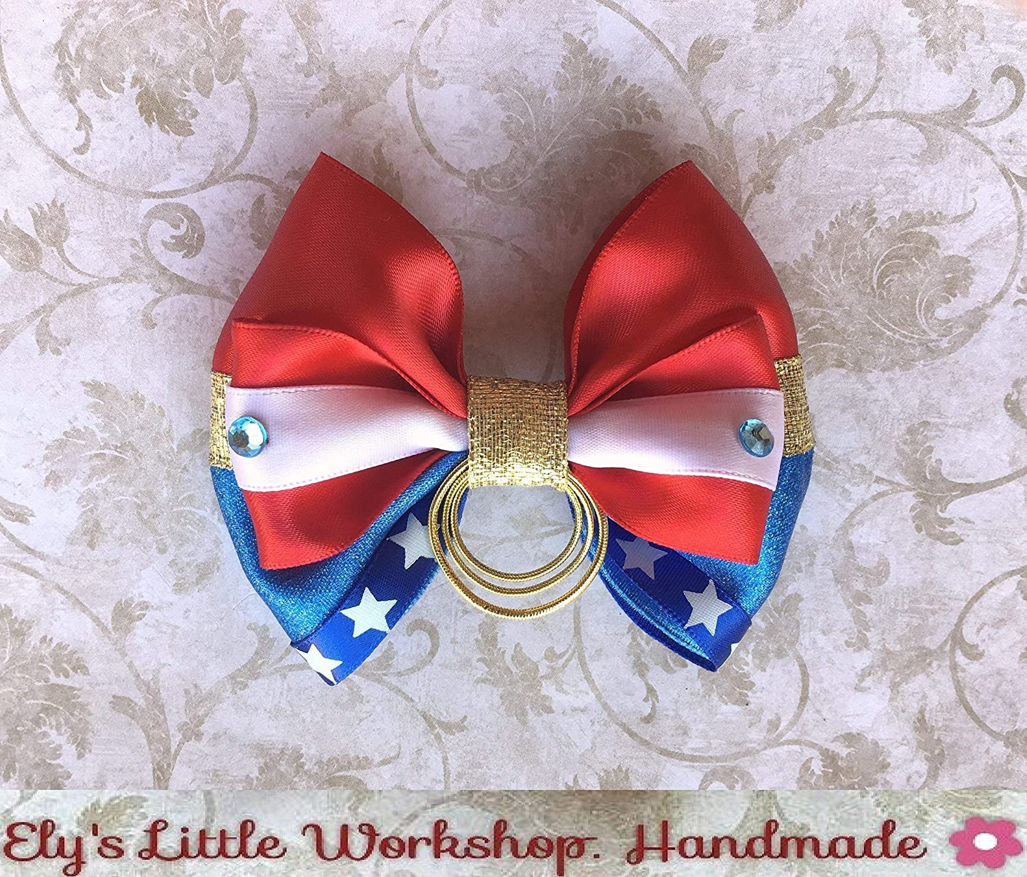Wonder Women, DC inspired Hair Bow, Unique. 100% HANDMADE, Satin, Alligator clip 2', Girls