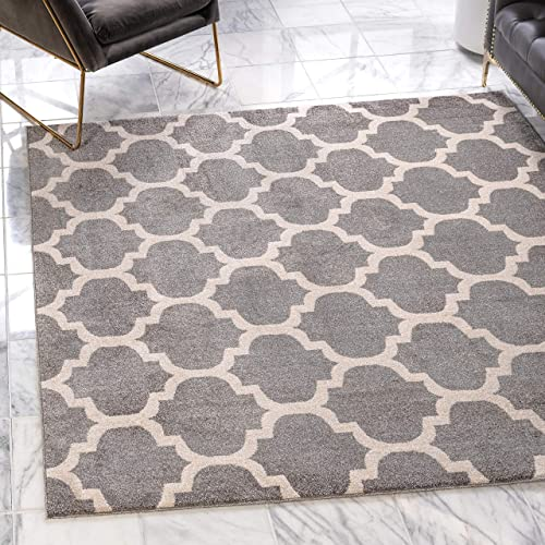 Unique Loom Trellis Collection Moroccan Lattice Dark Gray Square Rug 8 0 x 8 0