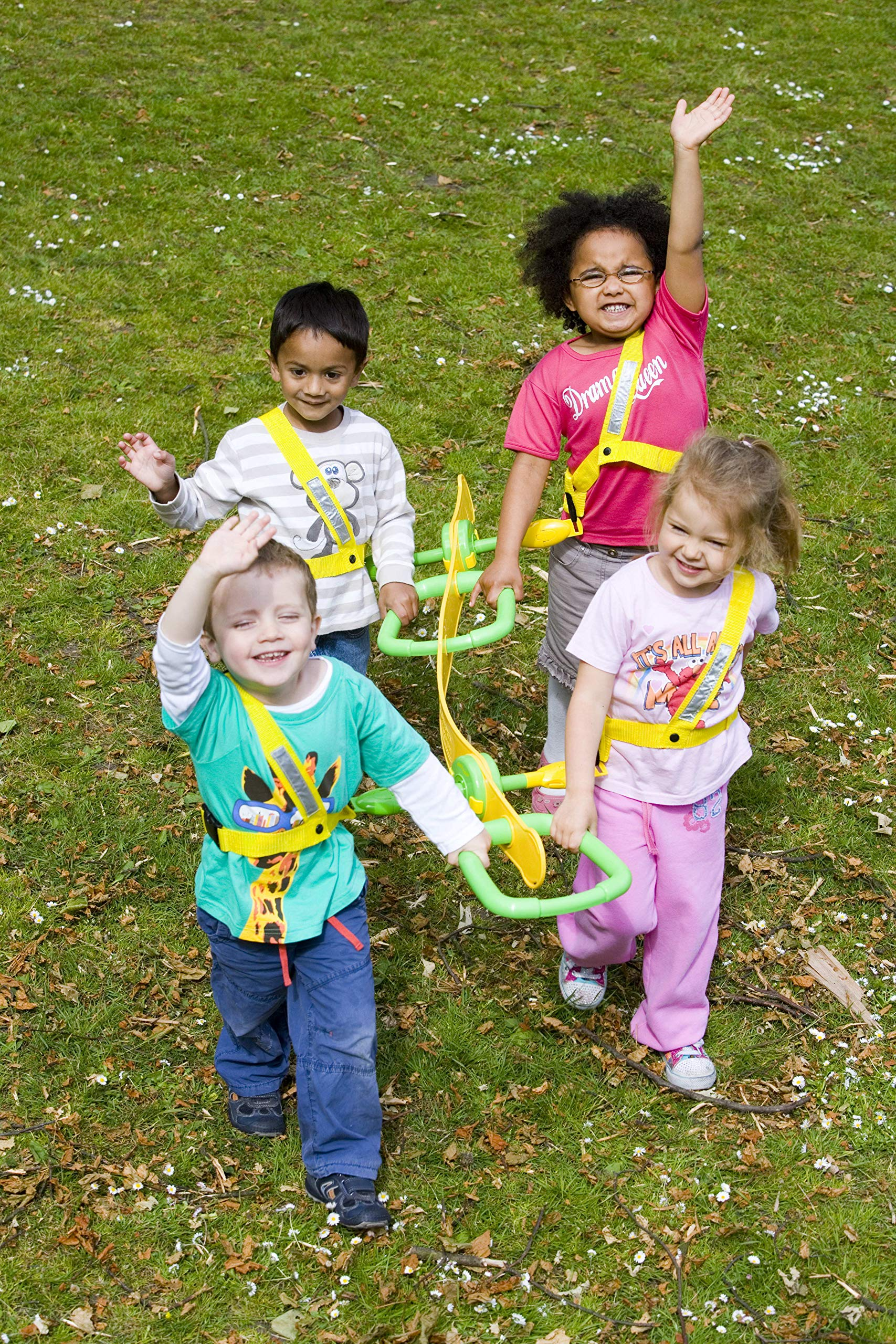 Walkodile Quattro (4 Child) - Kids Walking Rope, Childrens Reins, Toddler Safety Harness. Includes Free Learning Games for Walks Guide