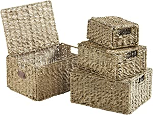 VonHaus Set of 4 Seagrass Storage Baskets with Lids and Insert Handles Ideal for Home and Bathroom Organization ,Biege ,Set of 4 Seagrass with Lid