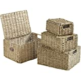 VonHaus Set of 4 Seagrass Storage Baskets with Lids and Insert Handles - Home & Bathroom Organizer Baskets