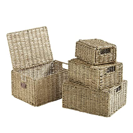 VonHaus Set Of 4 Seagrass Storage Baskets With Lids And Insert Handles  Ideal For Home And