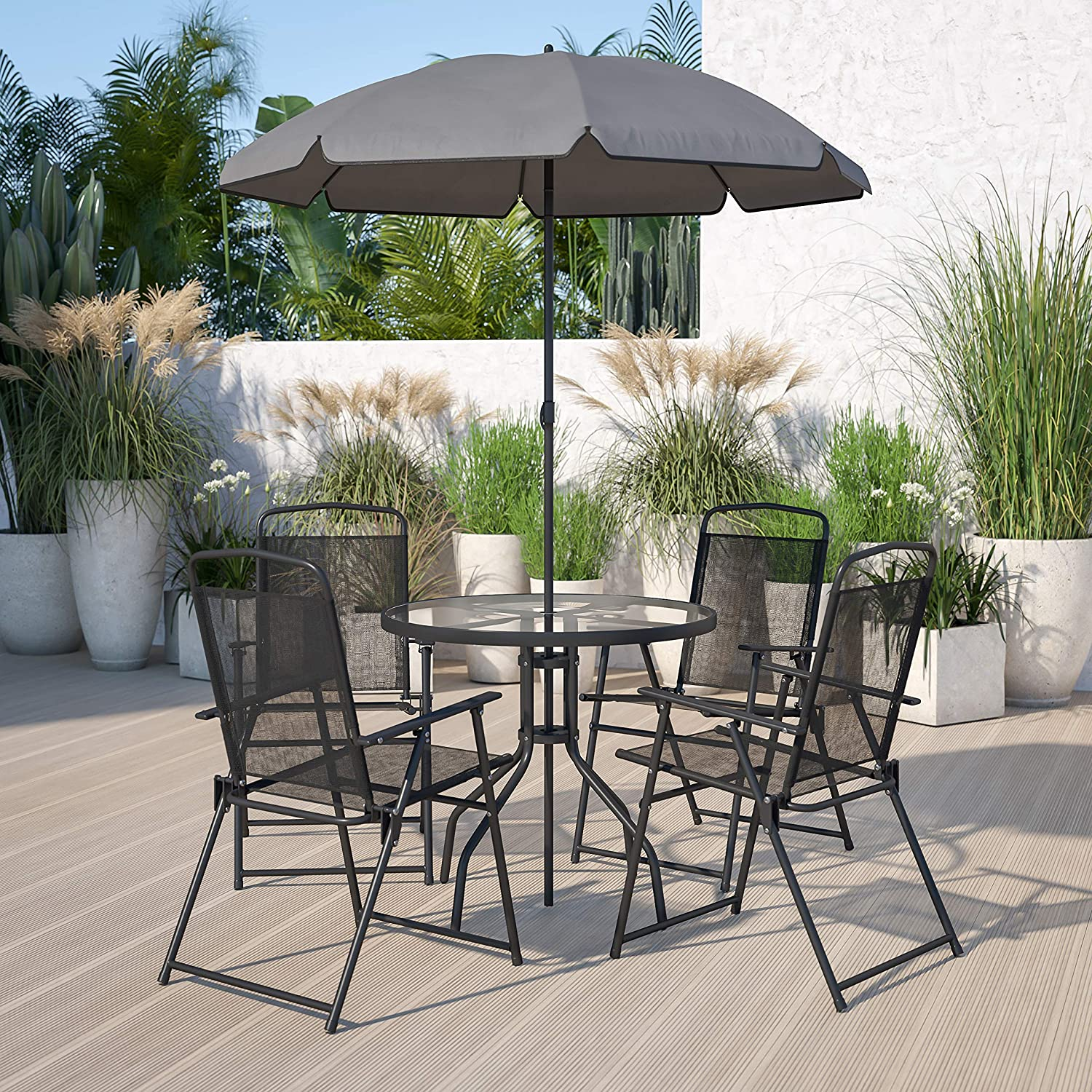 flash furniture nantucket 6 piece black patio garden set with umbrella table and set of 4 folding chairs