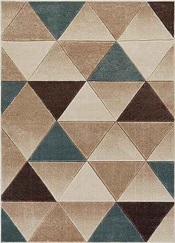 Well Woven Brown Clark Modern Geometric Triangles 5'3″ x 7'3″ Area Rug