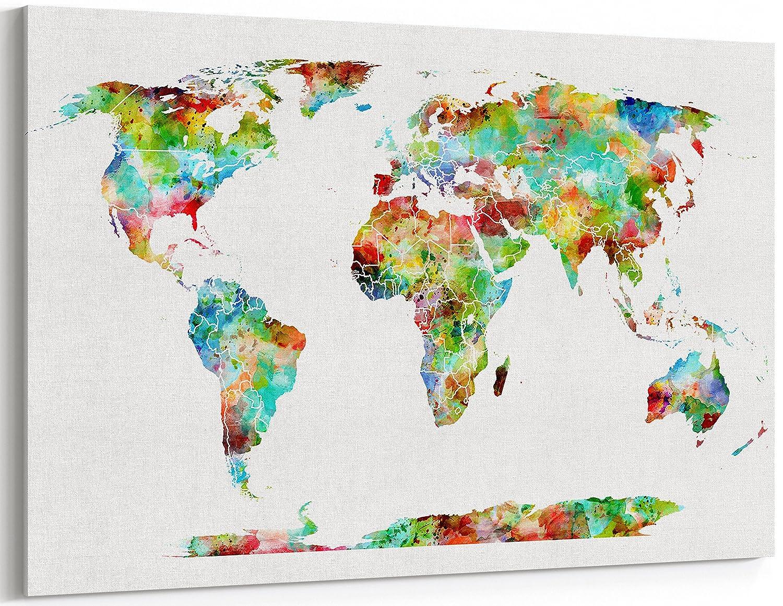 Bunte Welt Karte der Welt wall Kunstdruck Panorama Leinwand ...