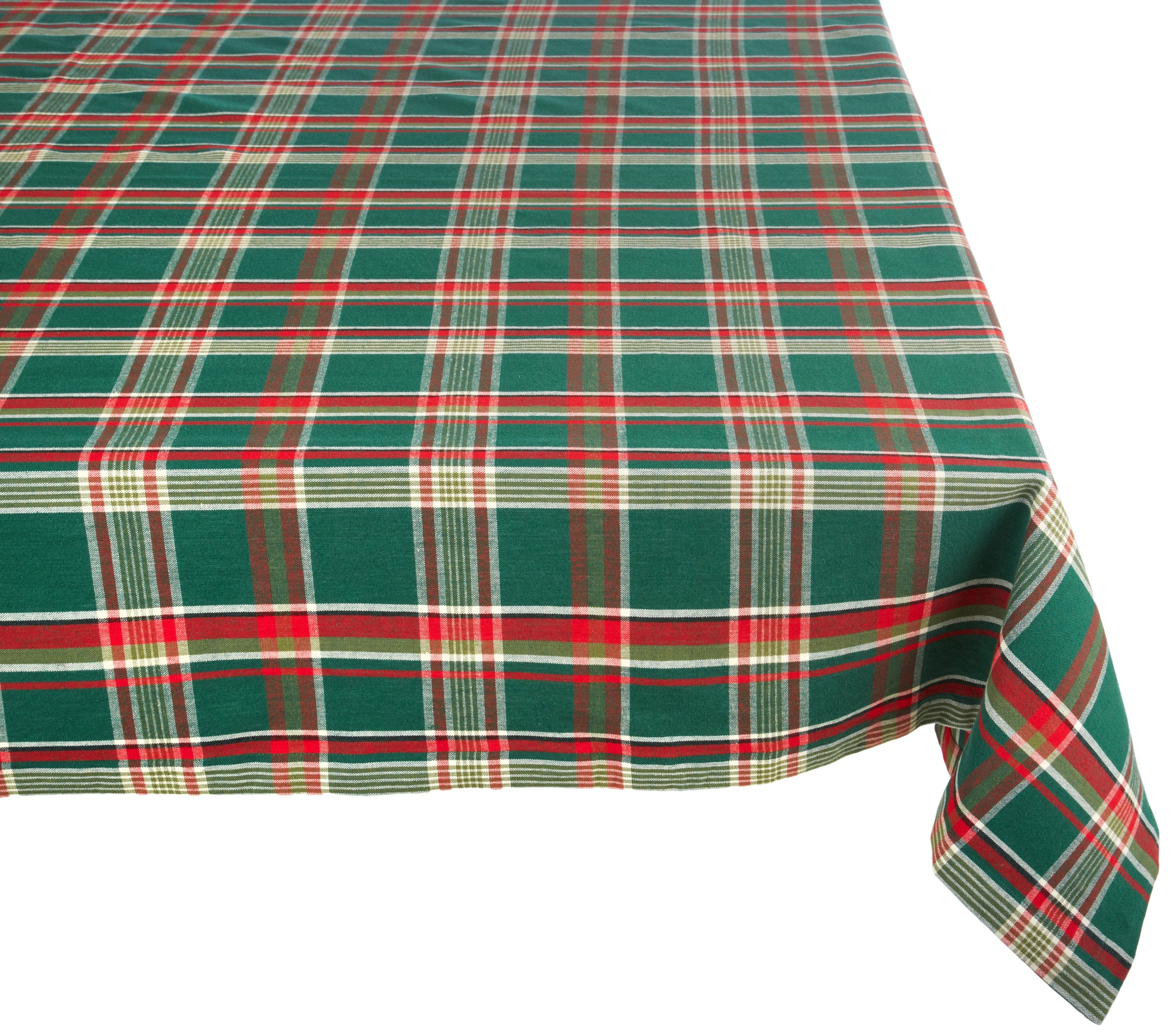 Dark Green Plaid Square Tablecloth, 100% Cotton with 1/2'' Hem (60x84'' - Seats 6 to 8)