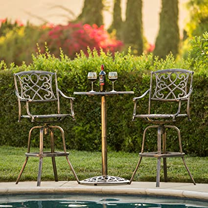 Best Choice Products Outdoor Patio 3 Piece Cast Aluminum Bistro Set, Table  And Chairs