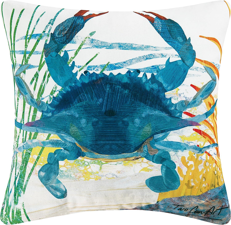 "C&F Home Indoor/Outdoor Throw Pillow, 18""x18"", Blue Crab"