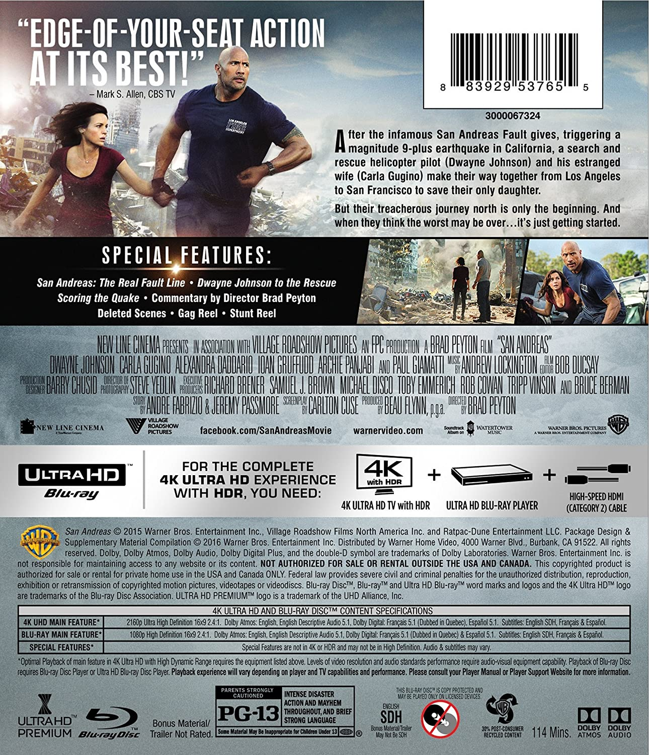 San Andreas [USA] [Blu-ray]: Amazon.es: San Andreas: Cine y Series TV