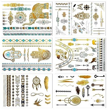 Metálico tatuajes temporales, prettydate 6 hojas 75 + Henna ...