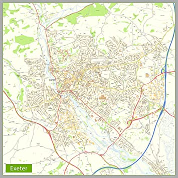 Map Of Uk Exeter.Exeter Street Map Paper Size 160 X 160 Cm Amazon Co Uk Office