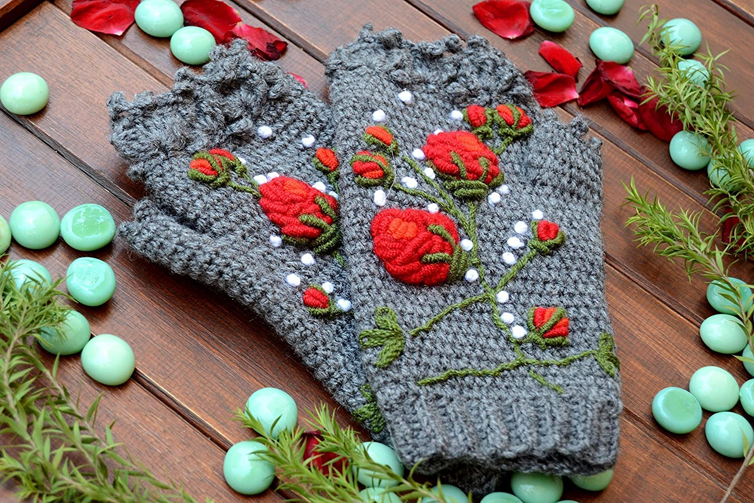 Knitted Fingerless Gloves, Gift Ideas, Winter Accessories, Grey, Candy & Cherry Red, Roses, Wool Gloves, Crochet Gloves, gloves women, gloves fingerless, gloves women winter, fingerless mittens