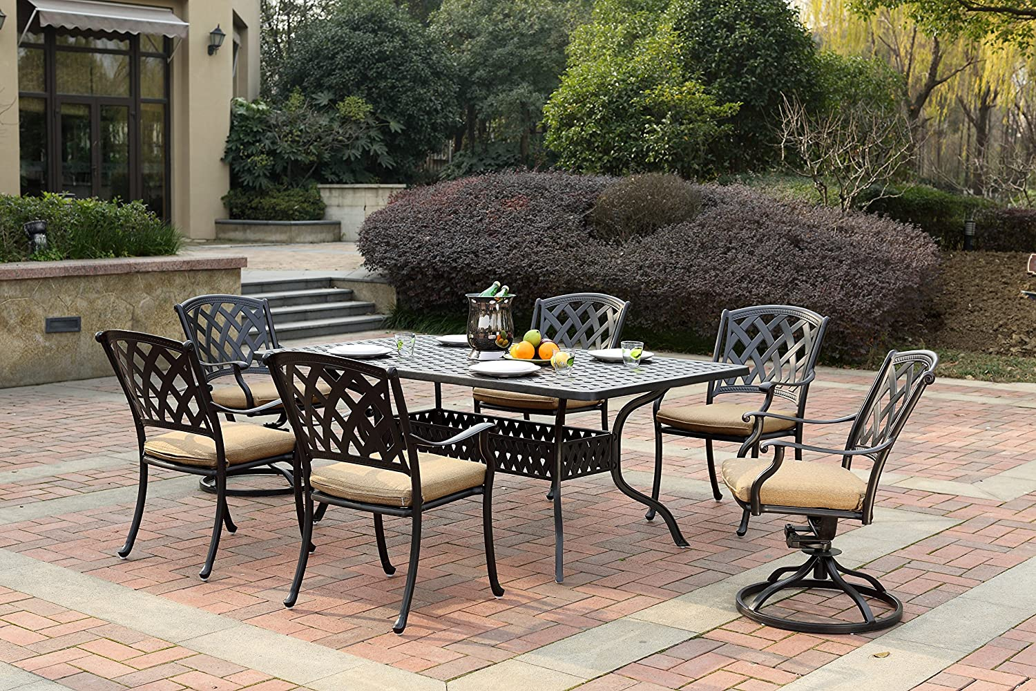 Darlee 201630-7PC-30RE Cast Aluminum 7 Piece Rectangle Dining Set Seat Cushions, 42 by 72 , Antique Bronze