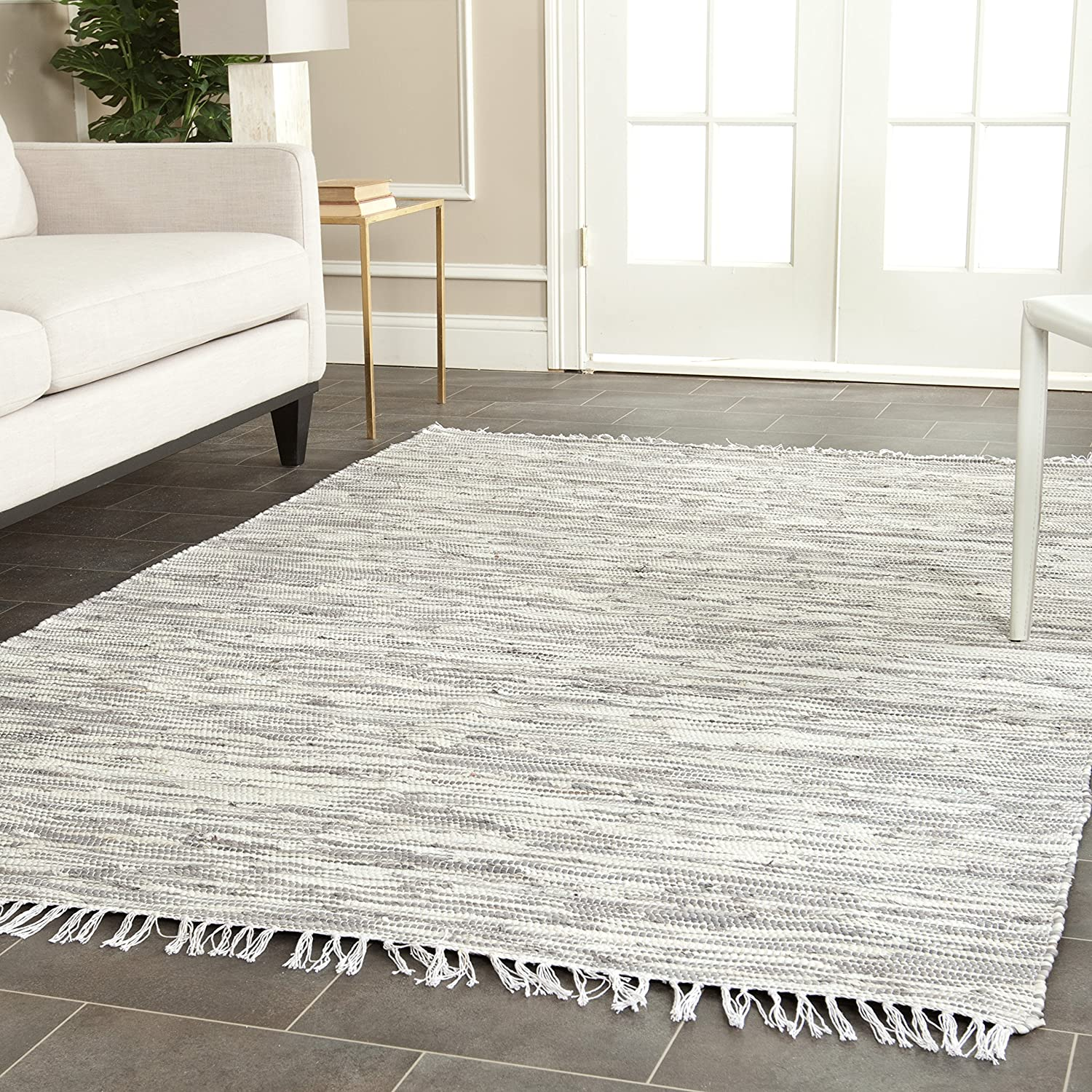 Amazon.com: Safavieh Montauk Collection MTK753A Handmade Flatweave Silver  Cotton Area Rug (5u0027 X 8u0027): Kitchen U0026 Dining