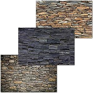 GREAT ART Set of 3 XXL Posters – Fieldstones – Black Grey Stone Wall Slate Stones Optics Industry Design Masonry Interior Design Wall Picture Decoration 55.1x39.4in (140x100cm)