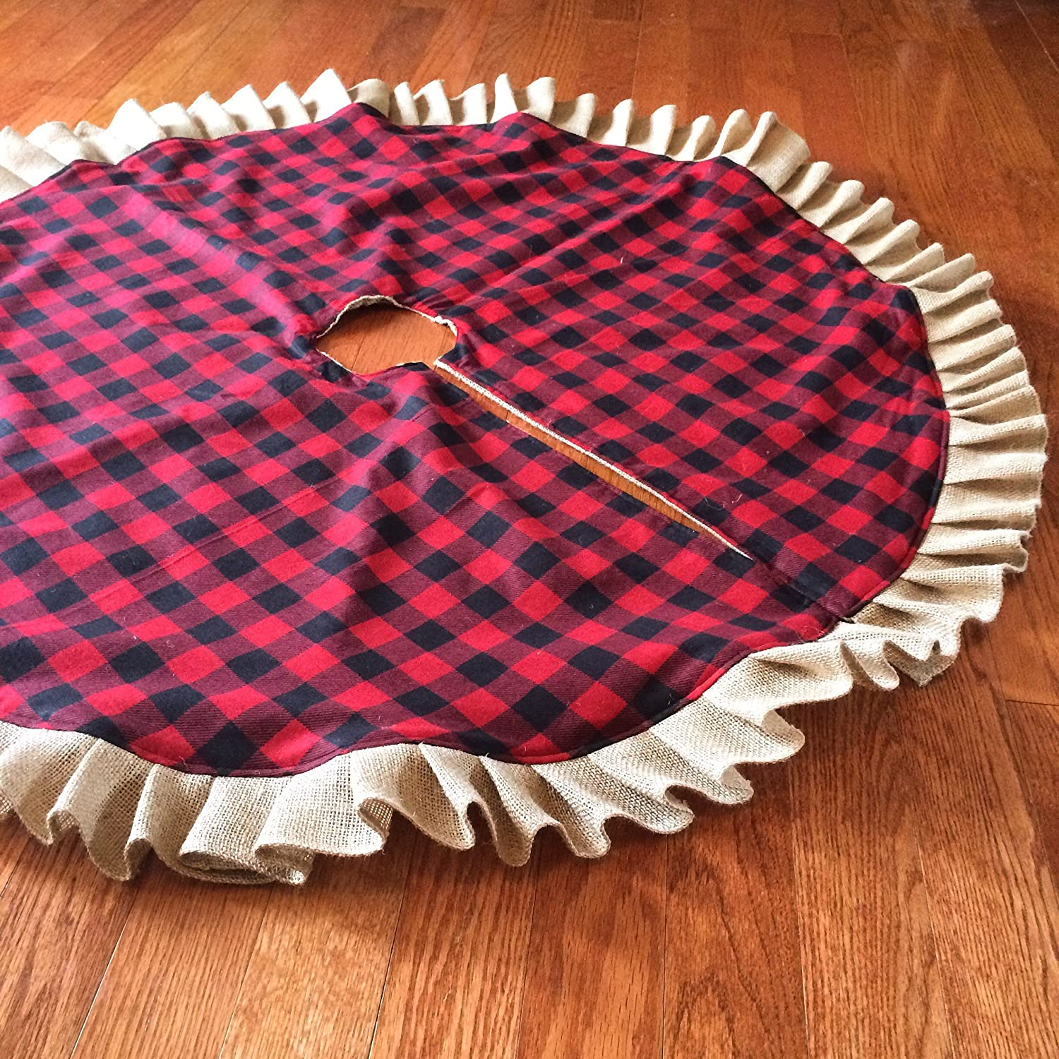 Buffalo Plaid & Natural Burlap Ruffled Christmas Tree Skirt