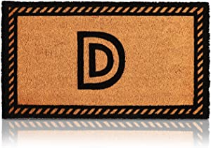 Letter D Welcome Mat, Natural Coir Doormat (30 x 17 Inches)