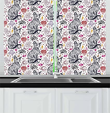Amazon Ambesonne Egyptian Kitchen Curtains Traditional Tattoo