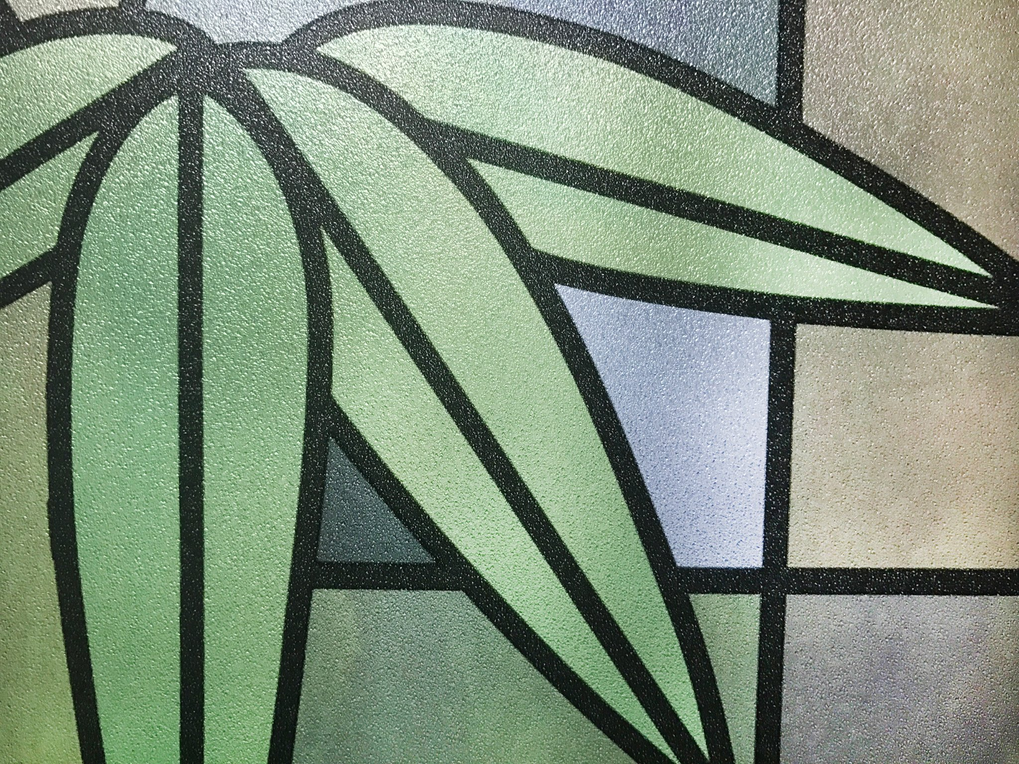 CHOIS Static 506-2 Cling Vinyl Home Decor Privacy Bamboo Plant Stain Glass Window Film 35'' x 1800''
