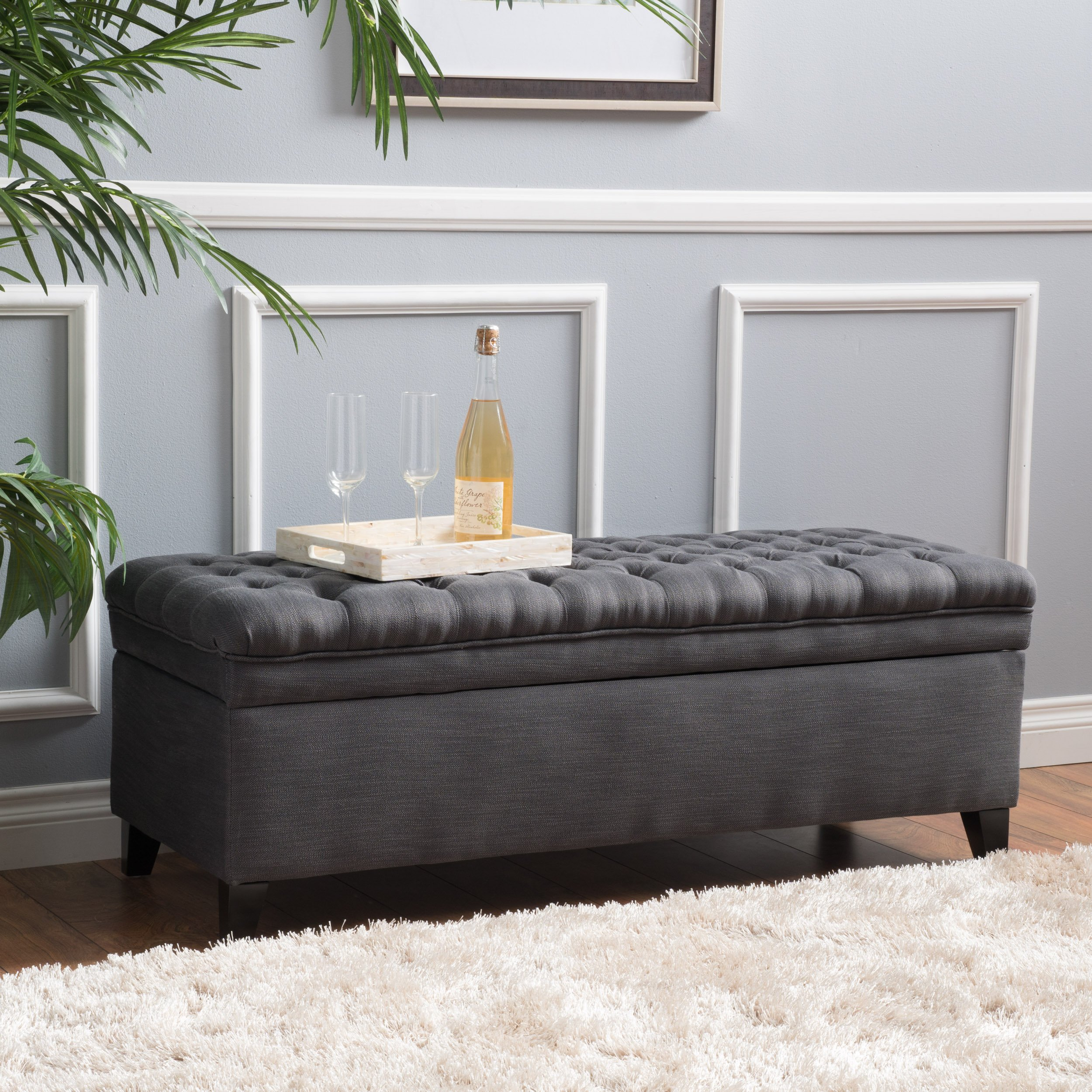 Christopher Knight Home 296933 Living Sheffield Tufted Fabric Gray Storage Ottoman, by Christopher Knight Home