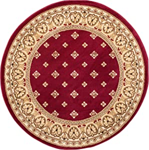 """Well Woven Barclay Hudson Terrace Red Transitional Area Rug 5'3"""" Round"""