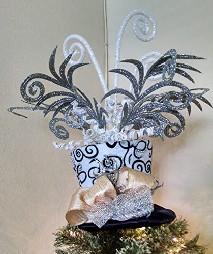 78354f883caeb Amazon.com  Top Hat Tree Topper - Christmas Tree Top Hat - Silver and Black Tree  Topper - Top Hat Centerpiece - Top Hat  Handmade