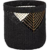 Amazon Brand – Rivet Modern Woven Seagrass Storage Organizer Basket - 16 Inch, Black & Gold