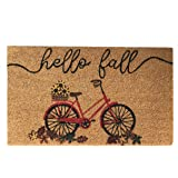 "Elrene Home Fashions Farmhouse Living Coir Outdoor Doormat, Natural Entry Mat, Front Door Decor, 18""x30"", Hello Fall Bike"
