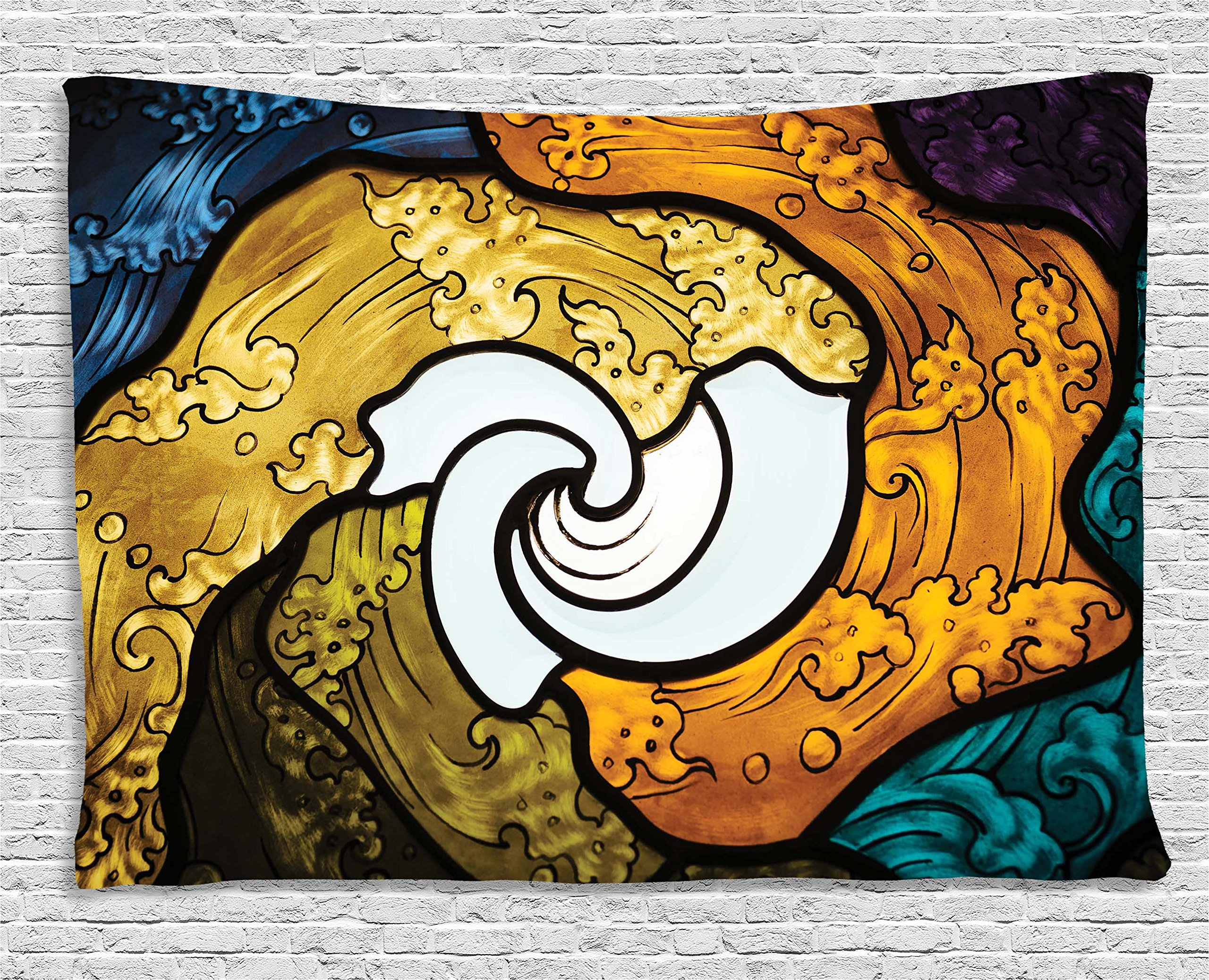 Ambesonne Trippy Decor Tapestry by, Pop Art Style Funky Unusual Stained Glass Window Thai Art Pattern Traditional Image, Wall Hanging for Bedroom Living Room Dorm, 80WX60L Inches, Multi by Ambesonne