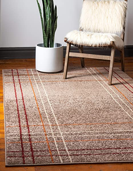 Unique Loom Autumn Collection Modern Striped Warm Toned Light Brown Area Rug 8 0 X 10 0 Furniture Decor
