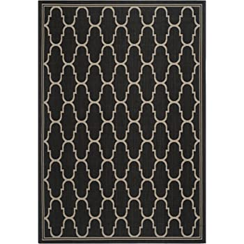 Safavieh Courtyard Collection CY6016-266 Black and Beige Indoor/ Outdoor Area Rug (4 x 57