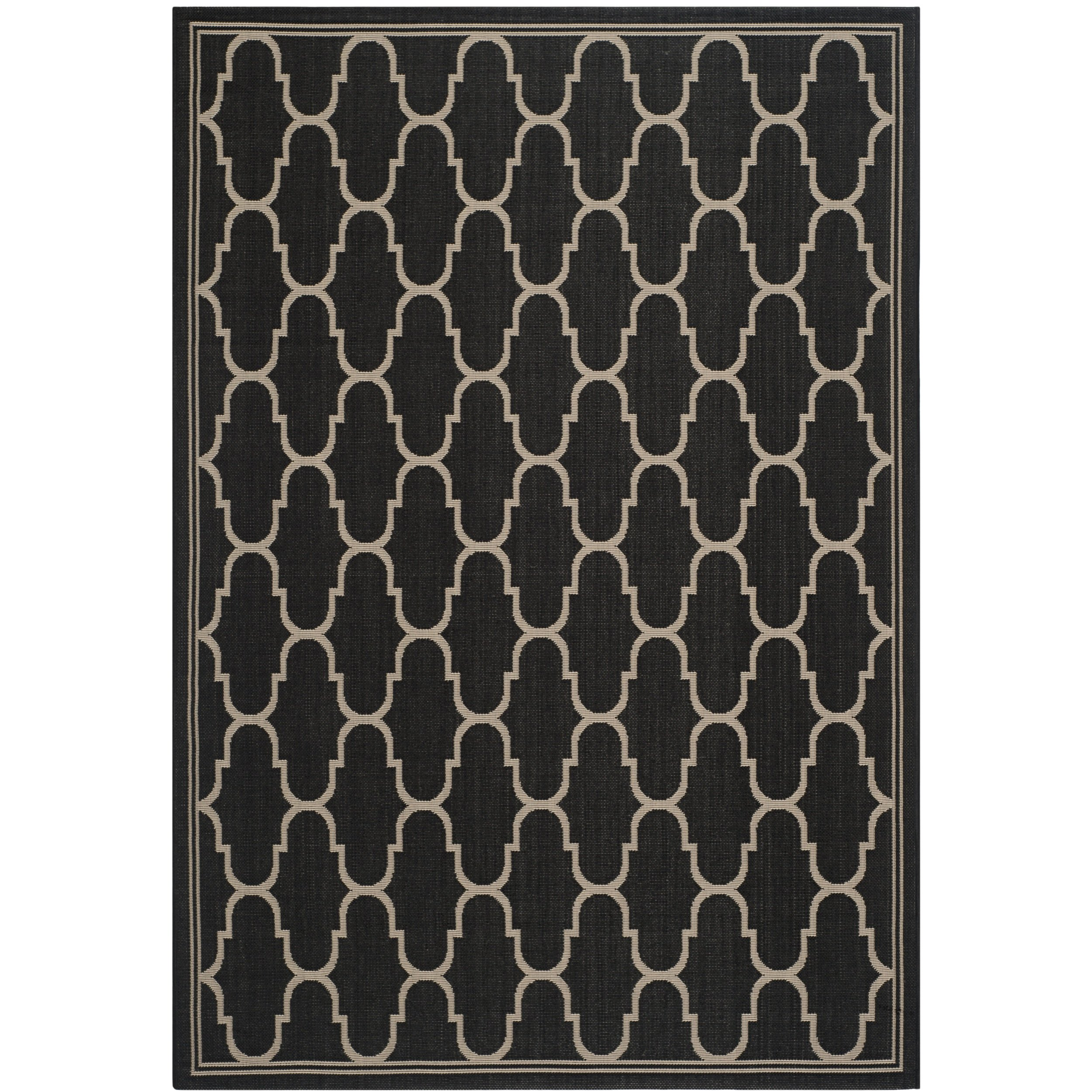 Safavieh Courtyard Collection CY6016-266 Black and Beige Indoor/ Outdoor Area Rug (9' x 12'6'') by Safavieh