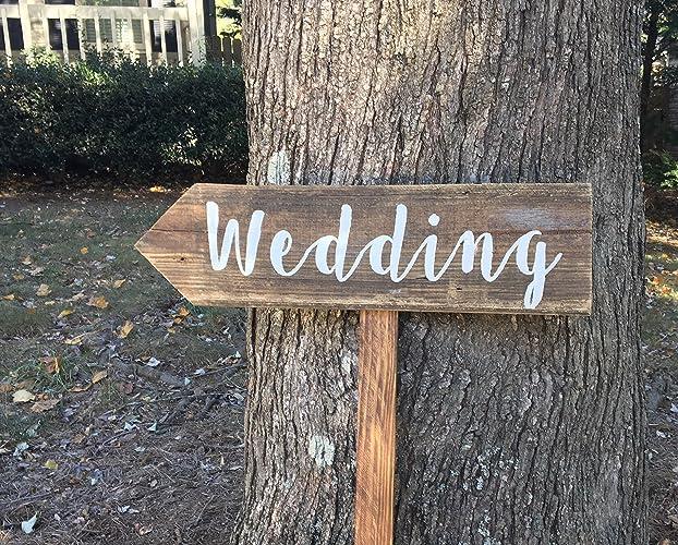 Amazon.com: Wedding Arrow Sign With Stake, Rustic Wedding Signs ...